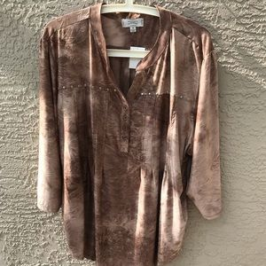 SHANNON FORD OF NY SIZE 3X TAUPE SILKY BUTTONDOWN